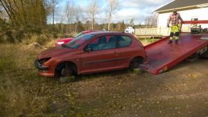 Bärgning av bil utan hjul